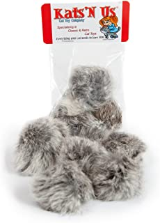 Kats'N Us Real Rabbit Fur Pom Pom Ball Cat Toy - 10 Pak