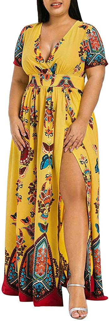 Women Plus Size Long Dress Wrap V Neck Butterfly Printed High Split Beach Party Maxi Dress Summer Short Sleeve Dresses