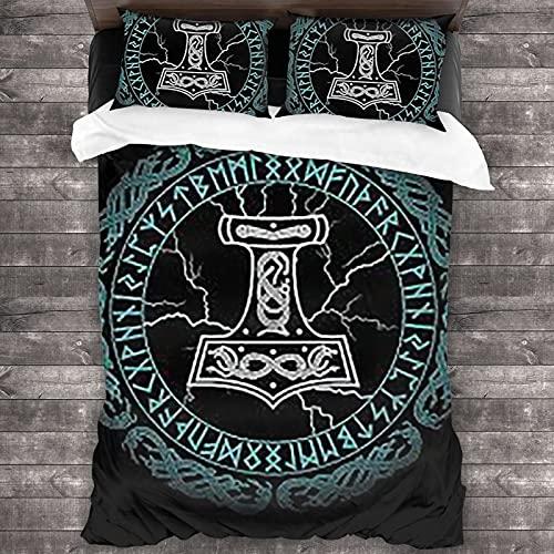 Ninegty Vikings Norse Mythology Pagan Asatru Magical Rune 3D Quilt Reversible Bedding Sets Comforter Bedspread Set Queen Size 3 Piece Duvet Cover Set with 2 Pillow Cases for Men Women Kids