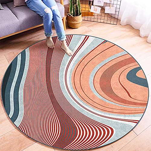 Oukeep Nordic Modern Round Carpet Home Living Room Study Bedroom Coffee Table Sofa Bed Side Mat Non-Slip Wear-Resistant Washable