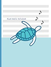 Blank Music Notebook: Music Manuscript Staff Paper for Musicians: Piano Violin Flute Cello Classical Guitar: Blue Ocean and Turtle
