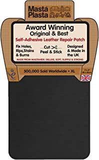 MastaPlasta Self-Adhesive Patch for Leather and Vinyl Repair, XL Plain, Black - 8 x 11 Inch - Multiple Colors Available