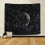 Alishomtll Sternenhimmel Wandbehang Mond Schwarz Wandteppich Nacht Himmel Wandtuch Sternbilder Psychedelic Tapisserie 130 x 150 cm