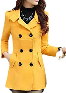 Macondoo Women Winter Double Breasted Wool-Blend Jacket Thickened Outwear Pea Coat