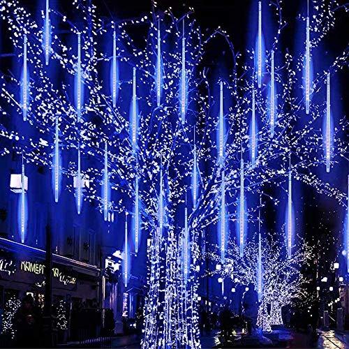 Lumières de Douche Meteor Lumières de Fée LED 8 Tubes 30 cm Lumières de Pluie Météore pour la Décoration de Noël Jardin Extérieur et Fête Etanche IP65 USB (Bleu)