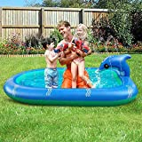 GLLP Piscina de rociadores inflables Juguetes de agua para niños, 67 * 43.3 '' 3-en-1 Piscina de salpicaduras de balancín, verano Innovador Kiddle Pool al aire libre Backyard Fountain Natación Regalos