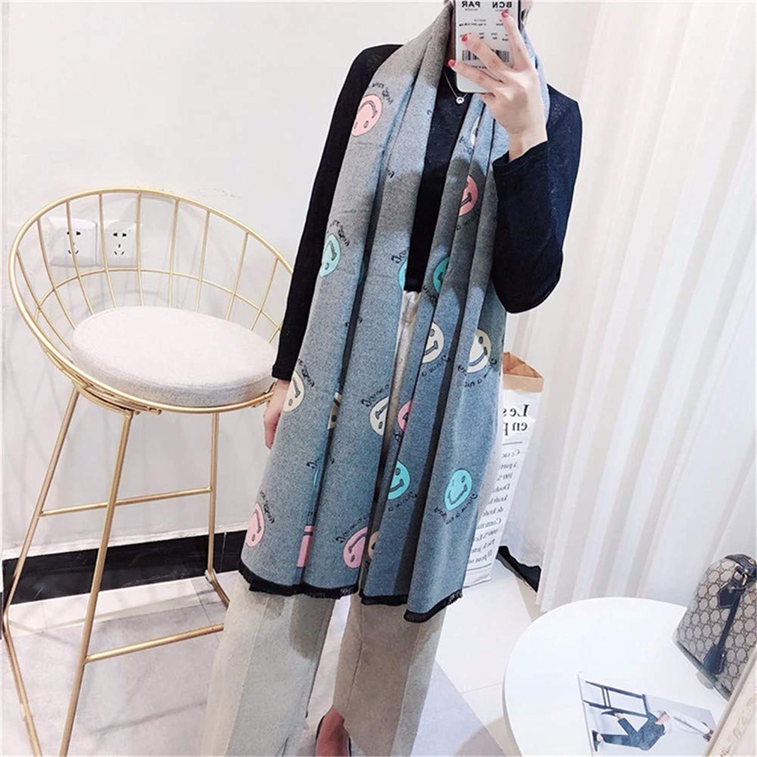 Autumn Winter New Warm Scarf, Female Smiling face Stripe Thickening Large Shawl