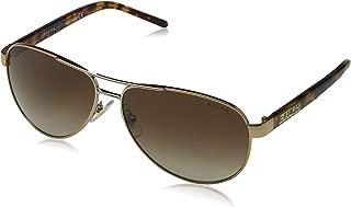 Ralph by Ralph Lauren Women's RA4004 Aviator Metal Sunglasses, Brown/Tortoise/Brown Gradient, 59 mm
