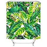 Litthing Duschvorhang 180x180 Anti-Schimmel & Wasserabweisend Shower Curtain mit 12 Duschvorhangringen 3D Digitaldruck Grüne Pflanze mit lebendigen Farben (3)