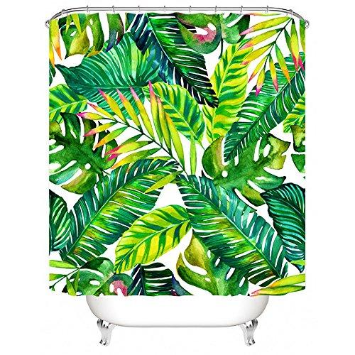 Litthing Duschvorhang 180x180 Anti-Schimmel und Wasserabweisend Shower Curtain mit 12 Duschvorhangringen 3D Digitaldruck Grüne Pflanze mit lebendigen Farben (3)