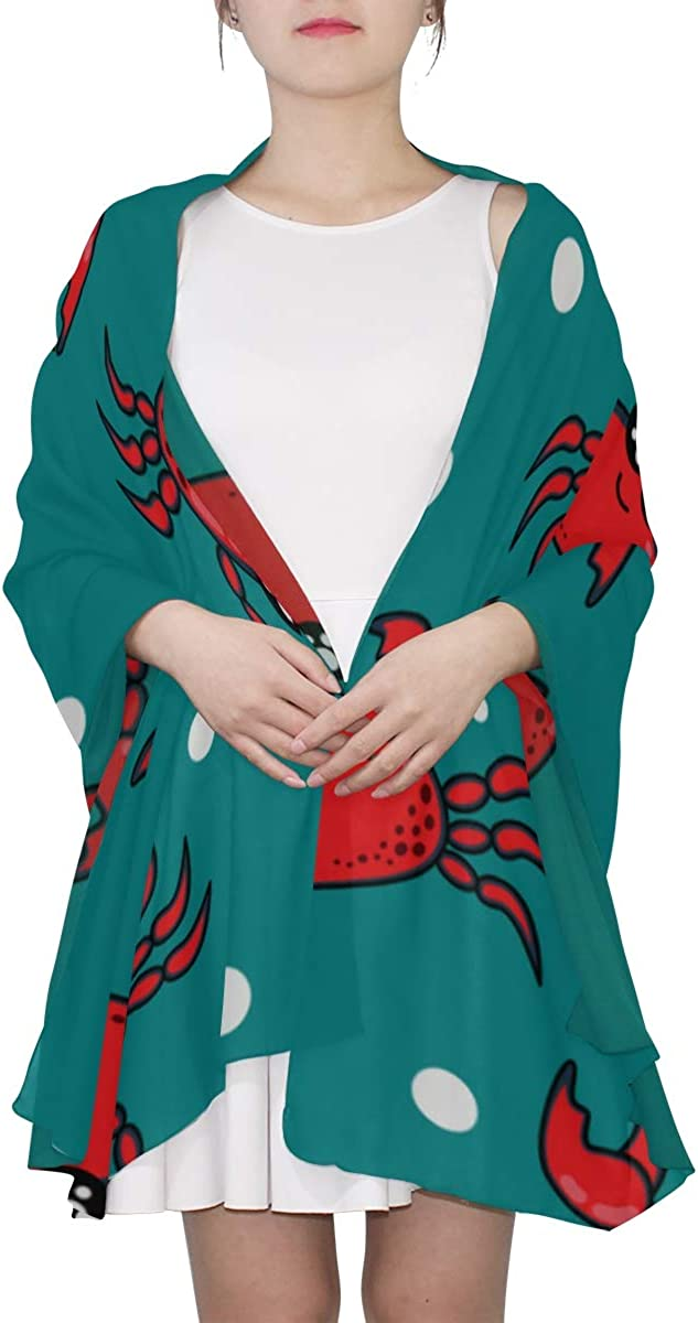 Cartoon Red Crab Unique Fashion Scarf For Women Lightweight Fashion Fall Winter Print Scarves Shawl Wraps Gifts For Early Spring