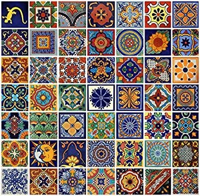 Color y Tradicion 100 Mexican Tiles 4x4 Handpainted Hundred Pieces 50 Different Designs