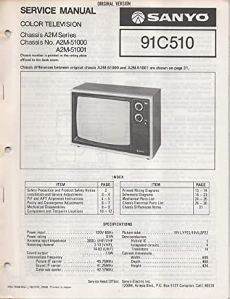 service manual for sanyo 91c510 color television tv, chassis series a2m,  chassis no