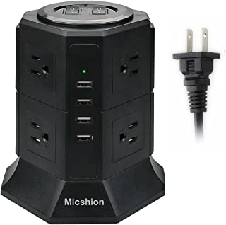 Micshion 電源タップ タワー式 縦型コンセント 2つのバイポーラスイッチ AC 8個口 USB 4ポート(最大4.5A/5V)2500w 入力110v-250v 急速充電可能 雷ガード保護 過負荷保護 延長コード2m 職場用 家庭用 ブラック