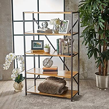 Relee 34  Wide Natural Stained Acacia Wood Bookcase with Rustic Metal Finished Iron Accents
