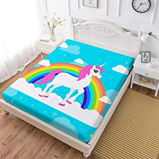 Oliven Rainbow Unicorn Fitted Sheet Full Size,Single Bed Fitted Sheet,1 Piece Breathable Deep Pocket Elastic Sheet,Blue