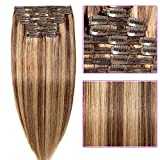 Rajout Cheveux Naturel a Clip - Double Weft Extension de Cheveux Humain MAXI VOLUME 8 Bandes (#4+27 Châtain Méché Blond foncé, 35cm-120g)