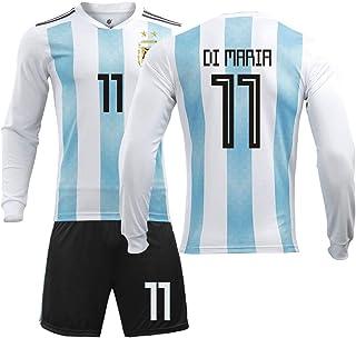 Maillot Argentino de Manga Larga, Uniforme del Equipo Nacional 2018, No. 10 Messi, Jersey, Adulto, niños, Traje de fútbol-XL-11