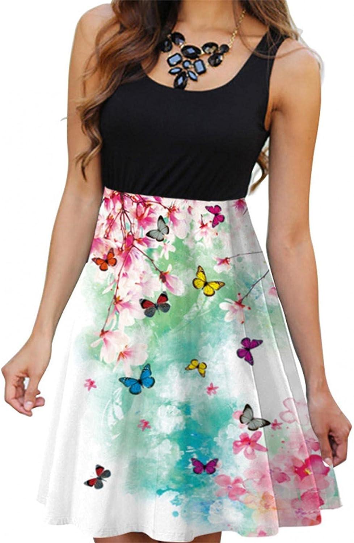 Gerichy Summer Dress for Women, Womens Casual Sleeveless Crew Neck Short Mini Dress Black Beach Bodycon Sexy Sundress
