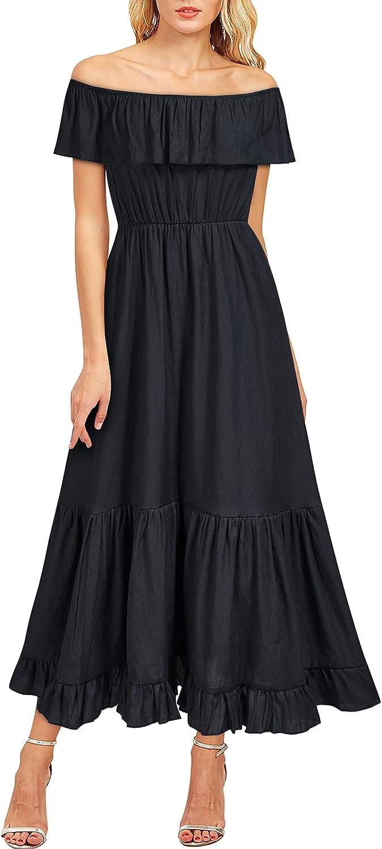 Viwenni Women's Off The Shoulder Ruffle Party Long Maxi Formal Dresses ¡