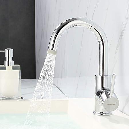 Waschtischarmatur Spüle Armatur 360°Wasserhahn Silber Mischbatterie Badearmatur