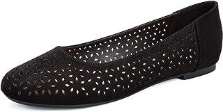 WFL جولة اصبع القدم النساء شقق الانزلاق على أحذية الباليه المسطحة لينة, (بلاك كارفينغ), 37 EU