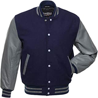 navy blue and grey letterman jacket