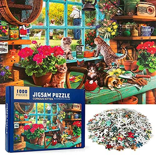 MOOKLIN ROAM Puzzle 1000 Piezas Gato Alféizar de Ventana, Puzzles Souvenir Regalo para Adolescentes y Adultos