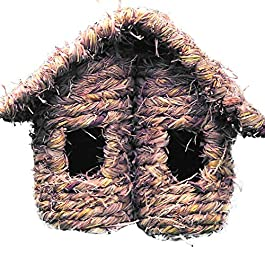 Asdomo Grass Hand Woven Hummingbird House Hanging Finch Nest Sparrow House Outdoor Decoration