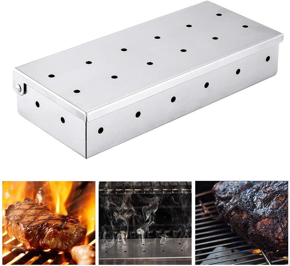 ZONGMIC Räucherbox zum Hinzufügen von Smokey BBQ Geschmack auf Gasgrill, Edelstahl Wood Chip Smoker Box mit Holzkohlegrills, Grillzubehör Zuhause, Garten, Outdoor Grill silber