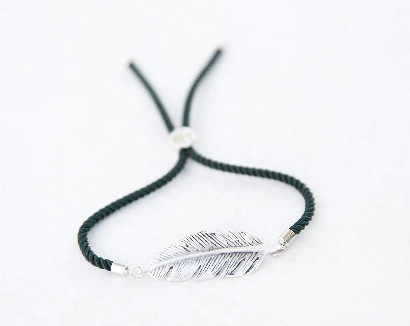 Bolo Silver-tone Feather Slide Bracelet, Custom Colors, Adjustable Bracelet