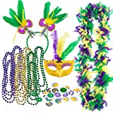 JOYIN Mardi Gras Women Party Accessory with 6 Beads Beaded Necklaces, LED Mask, Feather Boa, Headband, 24-Count Temporary Tattoos