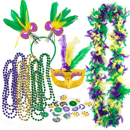 JOYIN Mardi Gras Women Party Accessory with 6 Beads Beaded Necklaces, LED Mask, Feather Boa, Headband, 24-Count Temporary Tattoos