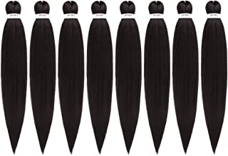 Pre-Stretched Braiding Hair Extensions 24 inch – 8 Packs Synthetic Crochet Braids,..