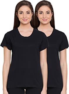 Clovia Women's Pack of 2 Cotton Rich Sleep T-Shirt