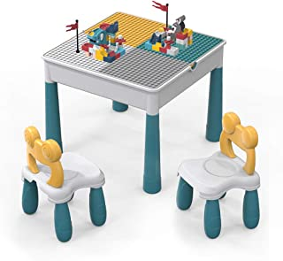 Enfants Ensemble de chaises de Table,Ensemble de jouets de construction de grandes briques de 90pcs.Table de jeu/table d'a...