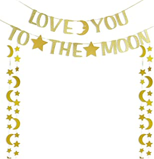 Glitter Gold Love You to The Moon Banner with Star and Moon Garlands for Wedding Bridal Shower Baby Shower Valentine's Day Table Scatter Party Decorations