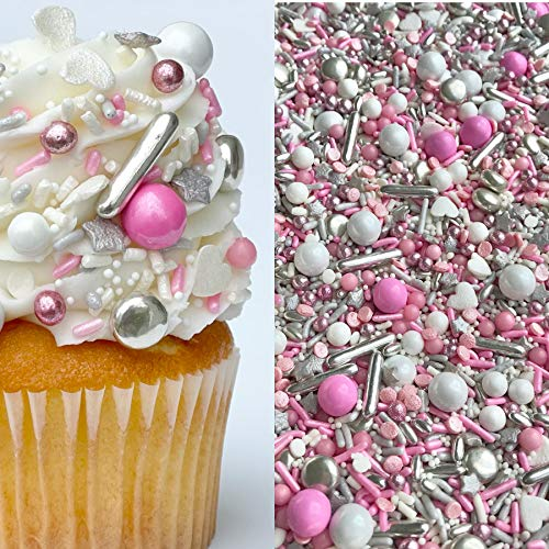 Manvscakes | Pretty in pink | Sprinkle mix | Pink and silver sprinkles | Valentine sprinkles | Baking