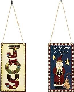 Biubee Pack of 2 Wood Christmas Hanging Sign- Creative Wooden We Believe in Santa + Joy Christmas Design Door Vertical Hanging Decoration Sign for Xmas Wall Indoor Outdoor Home Ornament Party Decal