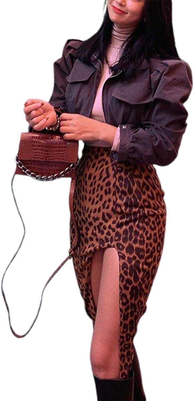 Women's Boho Flowy Floral PrintA-line Long Skirt Leopard Skirt High Low Split Summer Beach Midi Wrap Skirts