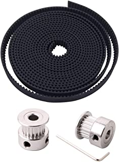 FULARR 2M Professional 3D Printer GT2 Timing Belt, 2mm Pitch 6mm Wide Rubber Timing Belt, with 2Pcs 20-Teeth 5mm Aluminum Timing Pulley and 2mm Allen Wrench, for 3D Printer CNC Machine