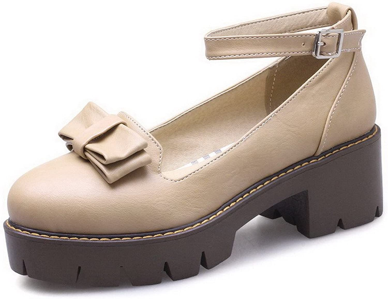 AmoonyFashion Women's PU Buckle Closed-Toe Kitten-Heels Solid Pumps-shoes