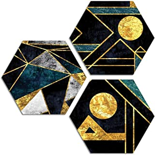 ARTAMORI Geometric Shaped Modern art 3 Piece Hexagon MDF Painting