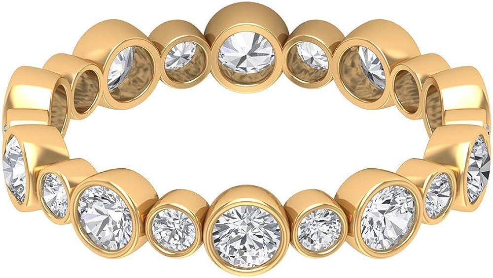 1.41 CT Bezel Set SGL Certified Moissanite Cluster Eternity Ring, Antique Bridal Wedding Promise Anniversary Ring, Gold Engraved Mother Stacking Rings, 14K Gold