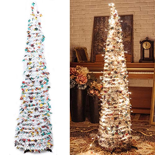 Pop-Up Artificial Christmas Tree with 100LED Lights ,Collapsible Pencil Christmas Trees for Holiday Carnival Party Christmas Decorations (White)