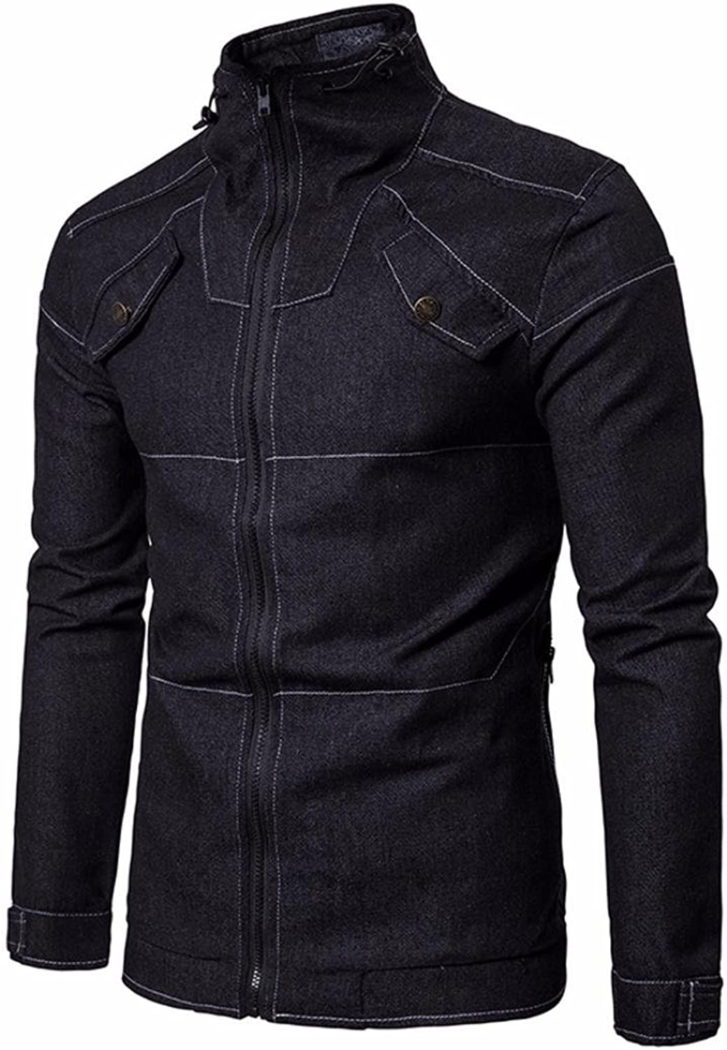 Dreamyth Men's Autumn Cowboy Slim Long Sleeved Denim Solid Blouse Fit Shirt Jacket Practical