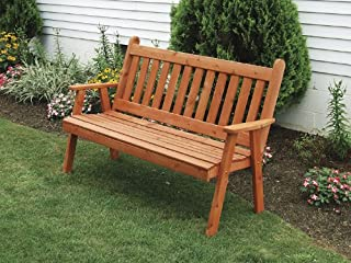 Cedar Outdoor 4 Foot Traditional English Garden Bench - Stained- Amish Made USA -Oak