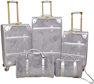 Track Luggage Trolley Bags , Set of 5 Pieces , Silver
