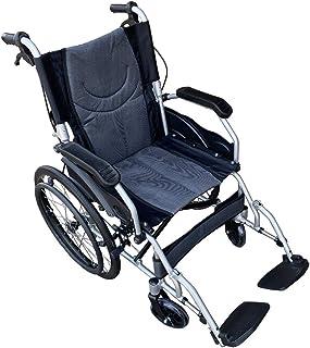 【非課税】【高級感のあるブラック】Nice Way(ナイスウェイ) 自走式折りたたみ 車椅子【座面幅約46cm】【ゆったりサイズ】【簡易式】【ノーパンクタイヤ】【自走式、介護・介助兼用】【介助ブレーキ付き】 (ブラック)
