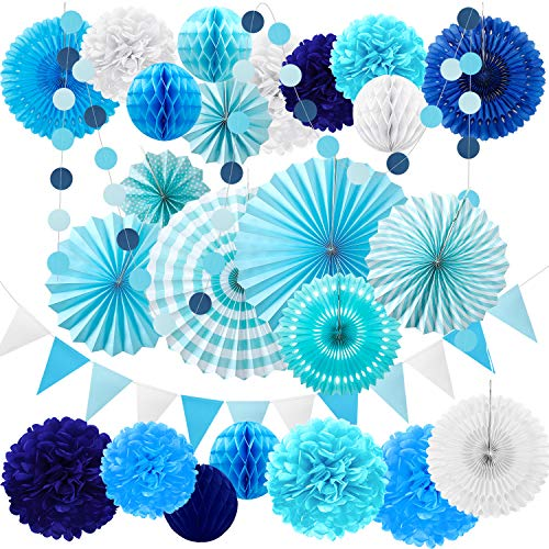 25 Pieces Party Decorations Paper Fans Pom Poms Flowers Garlands String Circle Dot Triangle Bunting Flags Honeycomb Ball Party Supplies for Christmas Birthday Wedding Baby Shower (Blue and White)